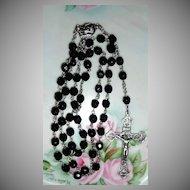 Black Jet Crystal Roman Catholic Rosary from Own family Estate