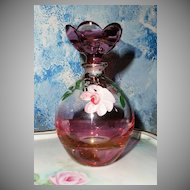 Pink Glass Hand Painted Roses Perfume Bottle