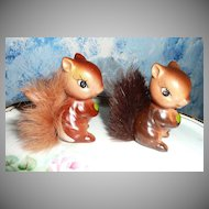 Enesco Twin Set of Squirrels with Fur Tails