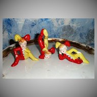 Set of  Three Happy  Clowns