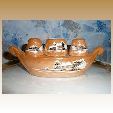 Lusterware Amber Shakers and Toothpick Holder Set