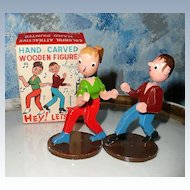 Vintage Hand Carved Wooden  Twist Dancing  Figures