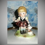 'Homco'   Little Girl Figurine with Her White Puppy