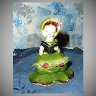 Young Girl Reading Blue Book Figurine