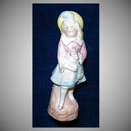 Beautiful Bisque German Girl with Bouquet of Flowers Figurine