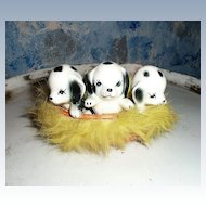 Vintage Dalmatians Puppies in  Fur Basket