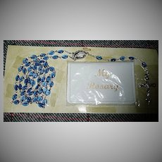 Vintage Miraculous Medal Blue Beads Rosary and Rosary Bag *New
