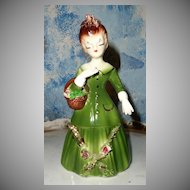 Pretty Vintage Lady  Figurine in Green