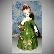 Pretty Vintage Lady  Figurine in Green
