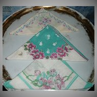 Three Vintage  Flower Ladies Handkerchiefs