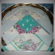 Three Vintage  Flower Ladies Handkerchiefs