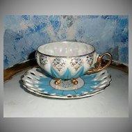 Beautiful Lusterware Blue Cup Duo