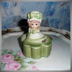 Cute Lego Bisque  Green Shamrock Trinket Box