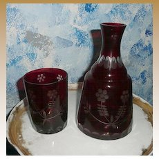 Wonderful  Dark Ruby  Red  Bohemian Night Water Pitcher/Bottle with Glass