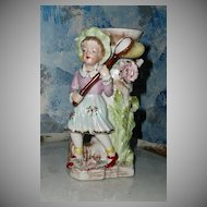 Vintage Flower Vase Girl Chasing Butterflies *Rare