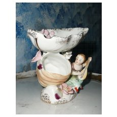 Norcrest Decorative Girl Figurine/Ashtray  with Birds and Flowers