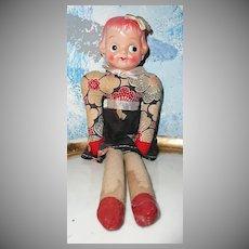 Vintage Celluloid  Head Doll Cloth Body