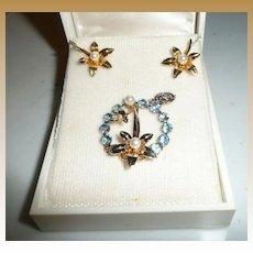 Beautiful Vintage  set of Miraculous Medal Blue Rhinestones/Pearl Pin with Earrings