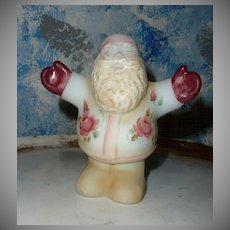 Unique FENTON Hand-Painted and Signed Hugging Santa Claus