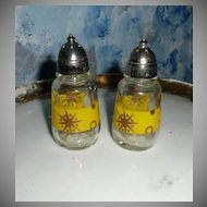 1950's  Glass Salt and Pepper Shakers with Metal Cap