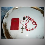 1956 St. Therese Roman Catholic Red Rosary with Small Red Bible/Prayer