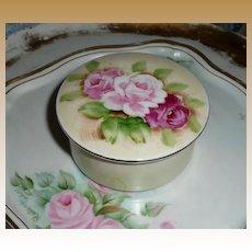Pretty English Tea Roses  Porcelain Powder Box