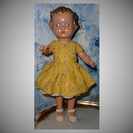 Pretty Early Composition Doll with Blue Head Bow