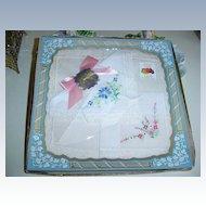 Vintage Set of Two  Flowers Ladies Handkerchiefs *New in Box