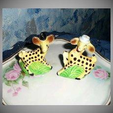 Cute Yellow Giraffes Set of SAlt and Pepper Shakers