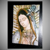 Beautiful Roman Catholic  Virgin of Guadalupe Rose Pin on Card