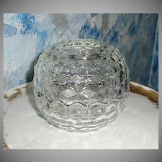 Jeannette Glass Cube or Cubist Pattern Round  Candle Holder