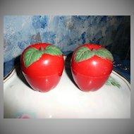 1950's Plastic Apple  Shaped Shakers