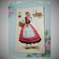 1966 Original Embroidered Spanish Vascongadas Post Card