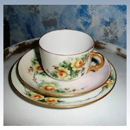 Gorgeous C.T. Tielsch & Co. German Yellow Roses Porcelain Cup Set