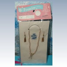 Vintage Doll Premier Faux Pearls  Necklace  & Earring Set
