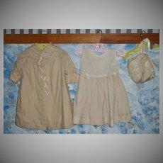 Vintage Baby Beige Coat Set with Bonnet