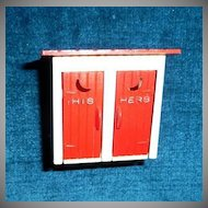 "Doll House Miniature ""His & Hers"" Outside Toilet"
