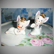Pair of Two Cute White Pixie Elfs