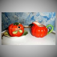 Vintage Tomato Shaped Sugar and Creamer Set with Lid