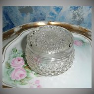 Vintage Pressed Glass  Powder Box Box with Lid