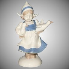 French  Porcelain Dutch Girl with Ducks