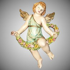Vintage Colored Angel with Garland Wall Plaque