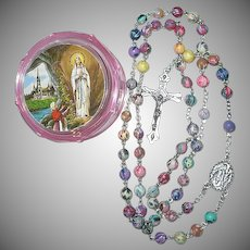 Vintage  Roman Catholic Rosary of Our Lady of Lourdes with Case