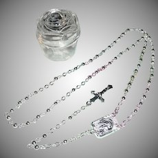 Our Lady of Lourdes Miniature Silver Roman Catholic Rosary in Rose Case