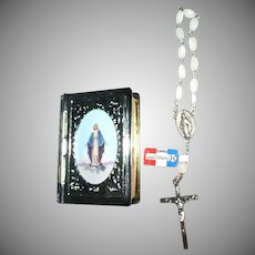 Miraculous Medal White Silver Plated Chapelet in Beautiful  Rosary Case