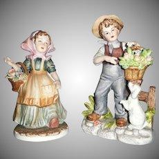 Lefton Pair of Farmer Children  Boy and Girl