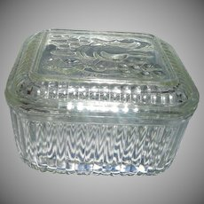 Vintage  Federal Glass Refrigerator  Dish  with Fruit  design on Lid
