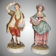 Vintage Courting  Pair of Victorian Dressed Lady and Gentleman