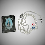 Our Lady of The Miraculous Medal Silver Holy Rosary with Metal Case
