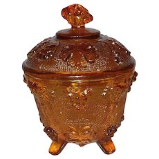 Grapevine Amber Glass Vanity Dish with lid